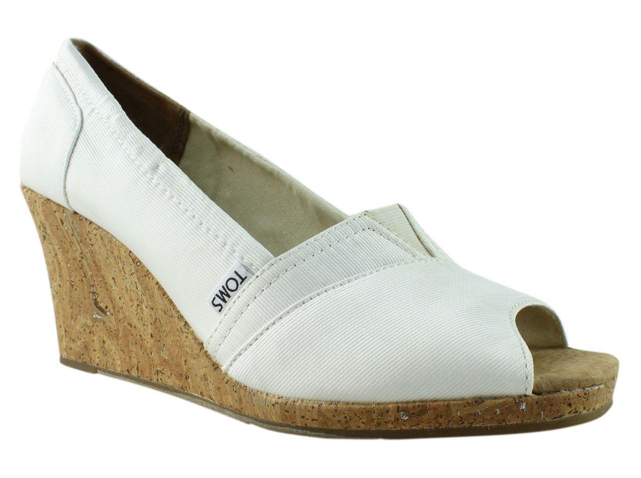 0db8cf6f69e TOMS - Multicolor Womens 010017b12-100 White Peep Toe Sandals - Lyst. View  fullscreen