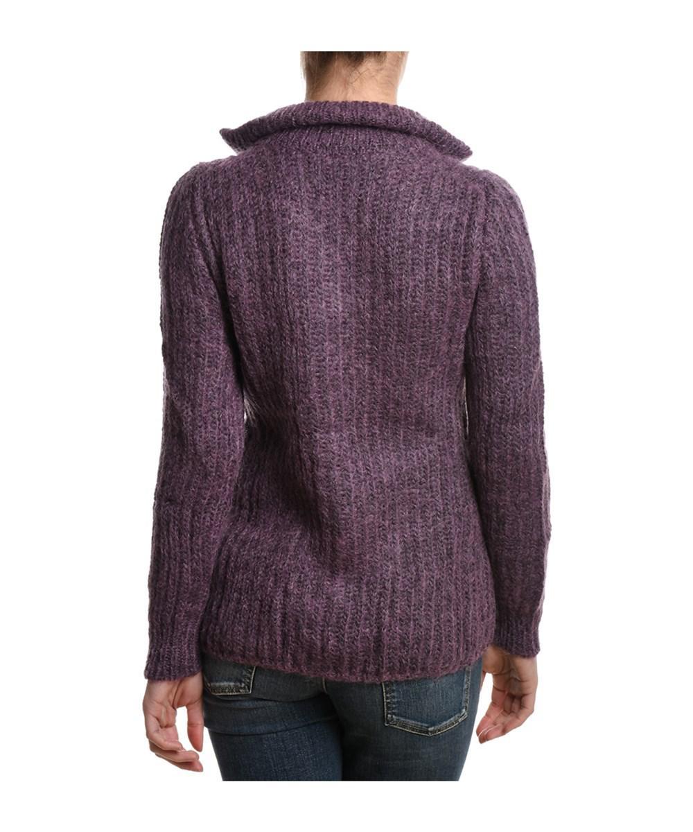 Eleventy Women's Beige/purple Wool Cardigan in Brown | Lyst