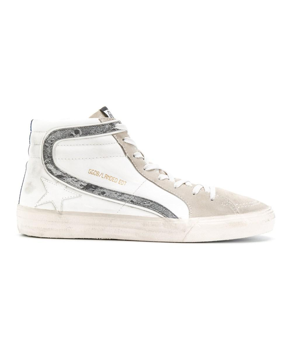 aba439396f1 Lyst - Golden Goose Deluxe Brand Men s White Leather Hi Top Sneakers ...