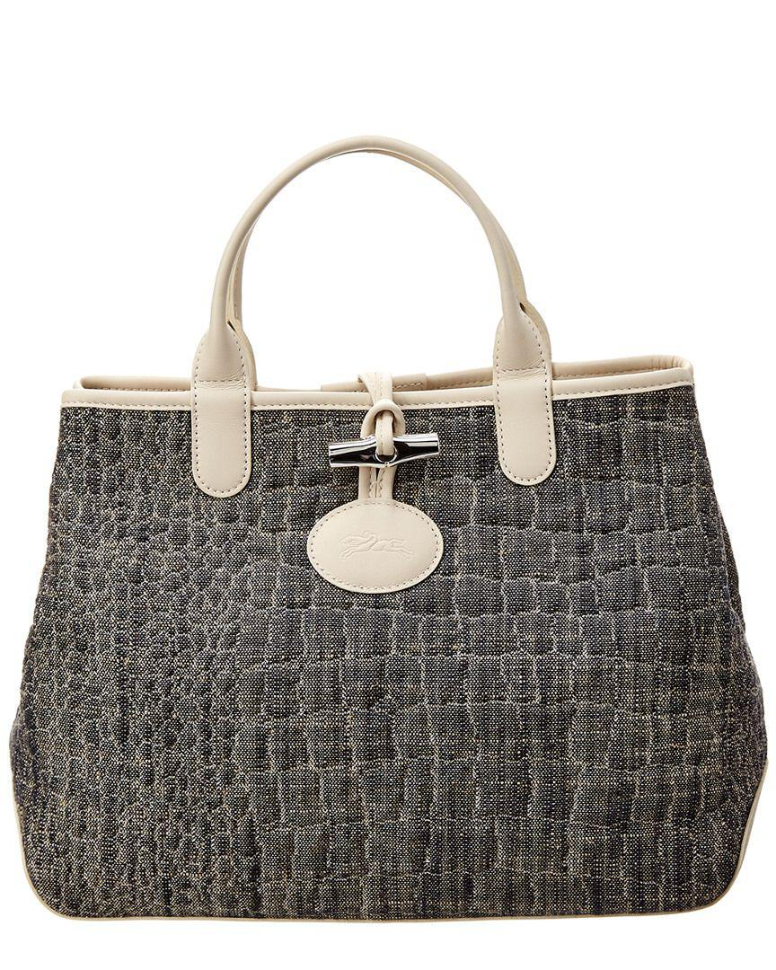 f1c6b025df38 Lyst - Longchamp Roseau Double Jeu Canvas   Leather Tote in Gray