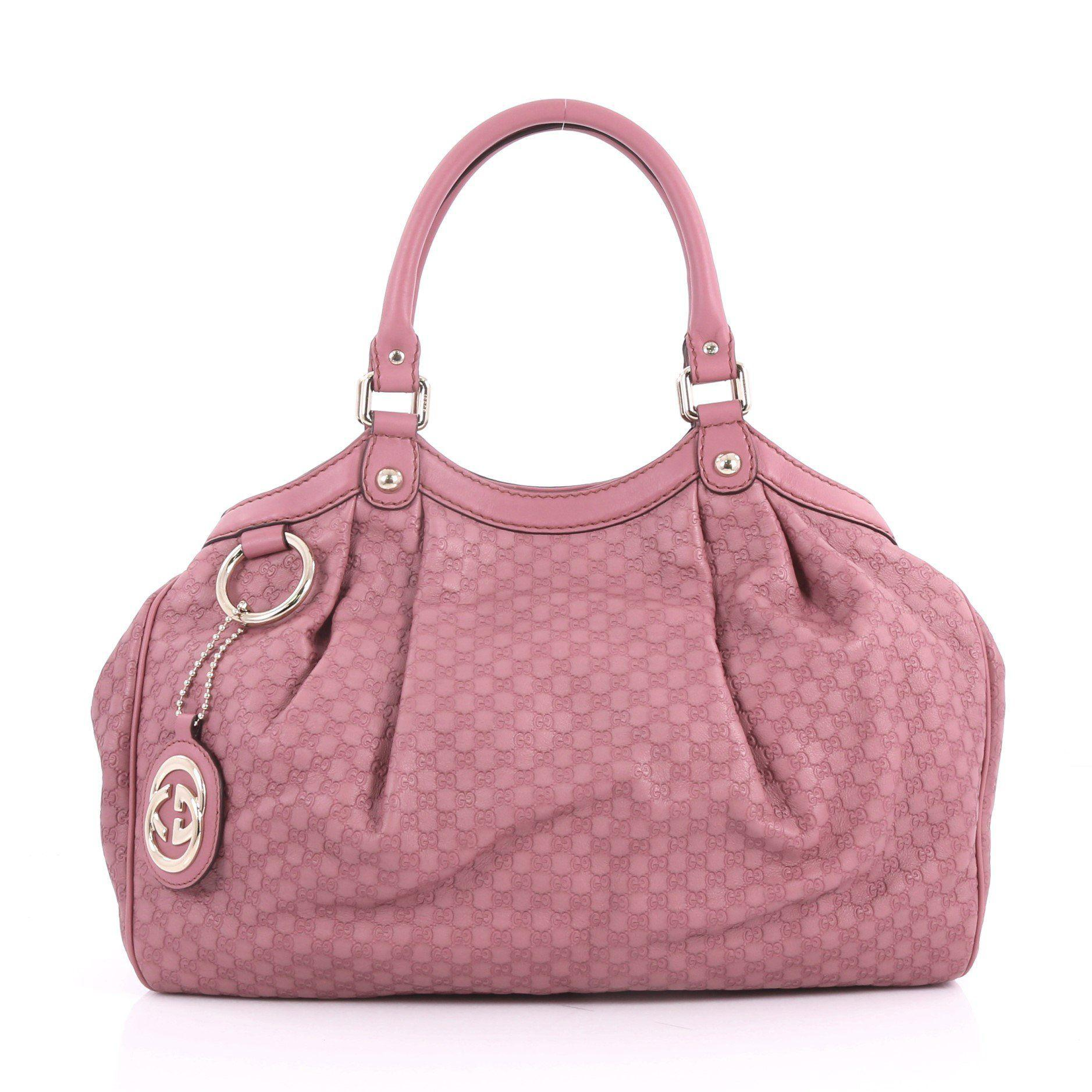 3ea40f87f Lyst - Gucci Pre Owned Sukey Tote Microssima Leather Medium in Pink