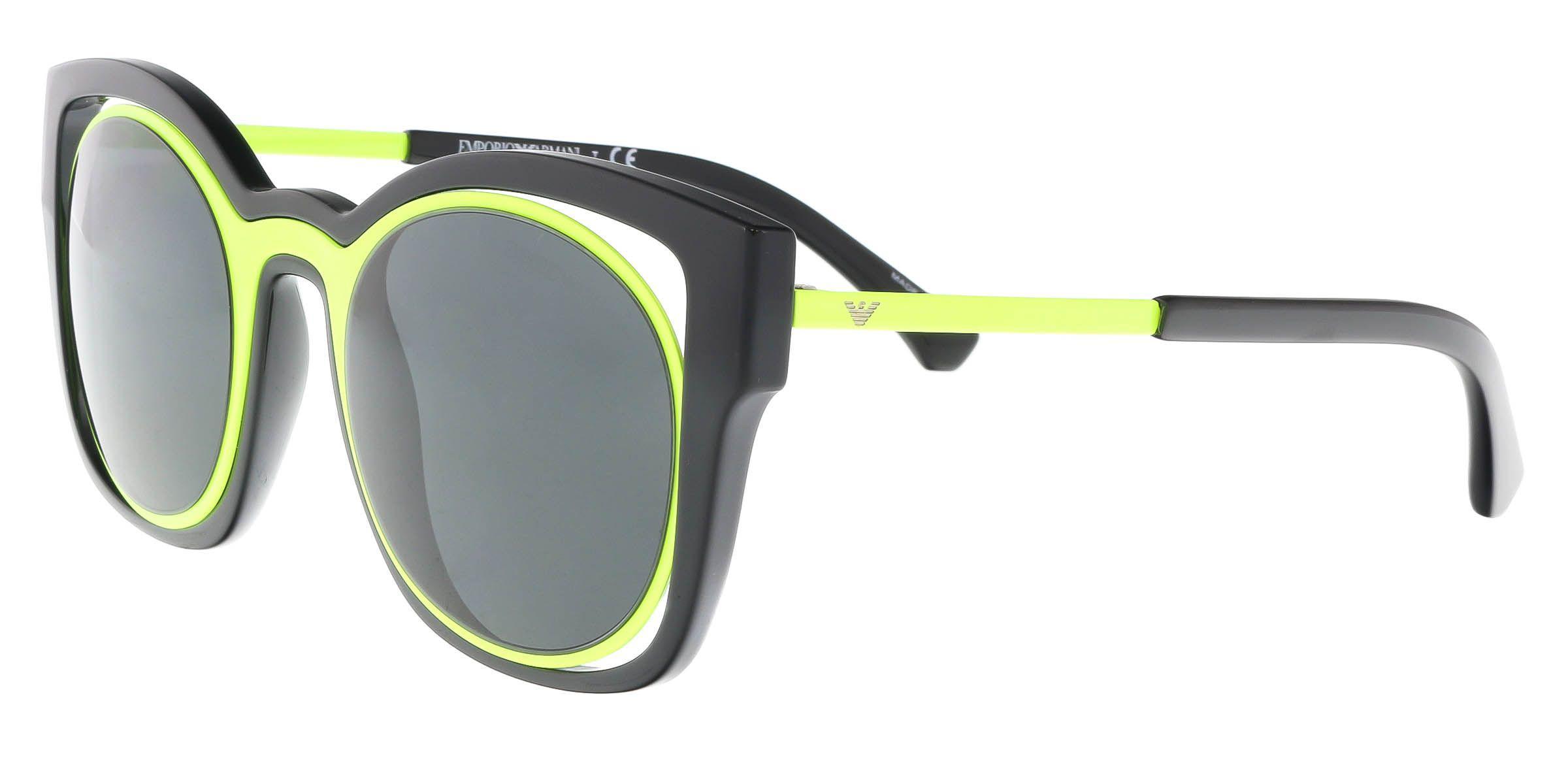 36d404a3d1a Lyst - Emporio Armani Ea4091 501787 Black lime Cat Eye Sunglasses in ...