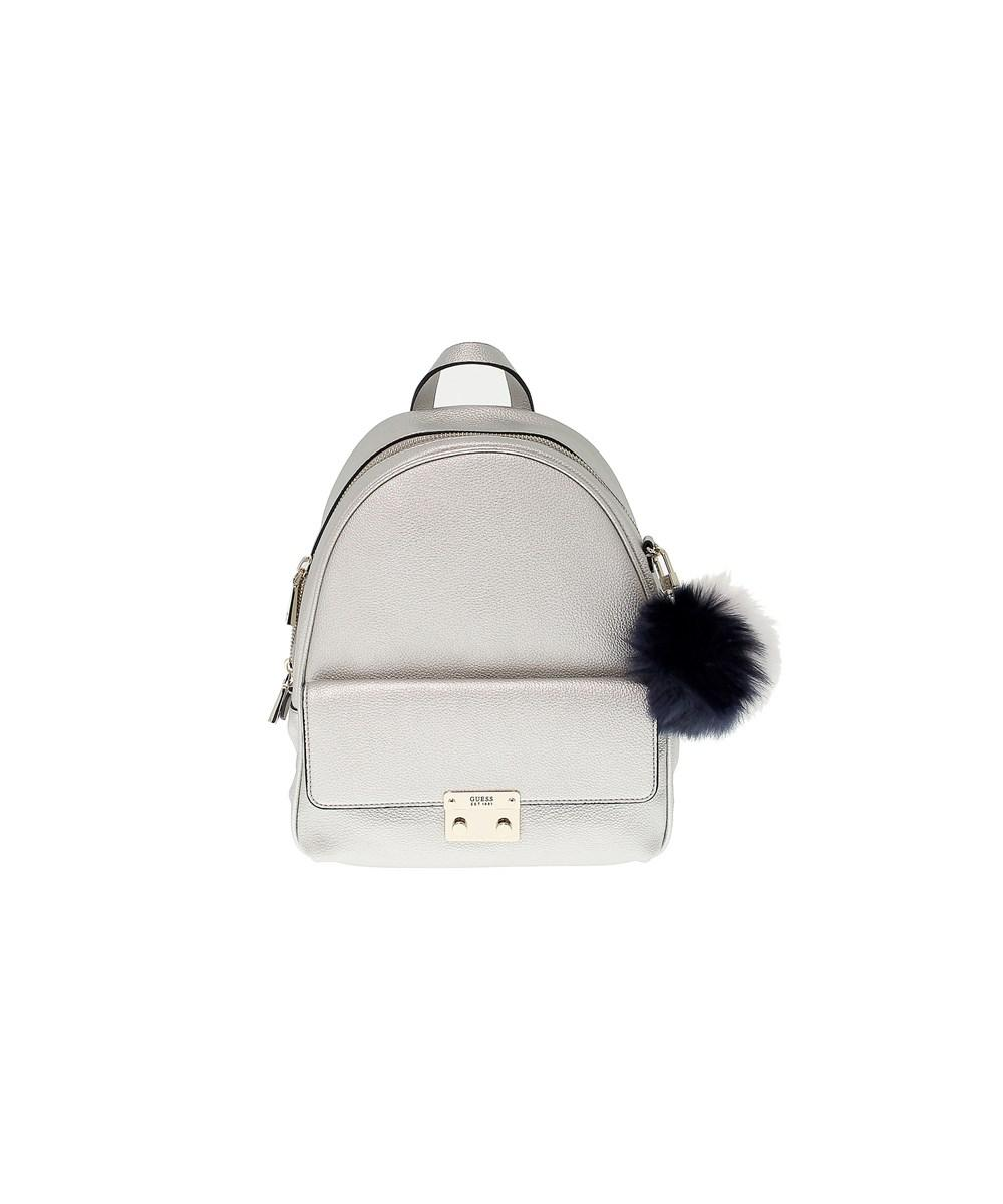 0c064a22c0 Lyst - Guess Women s Silver Faux Leather Backpack in Metallic