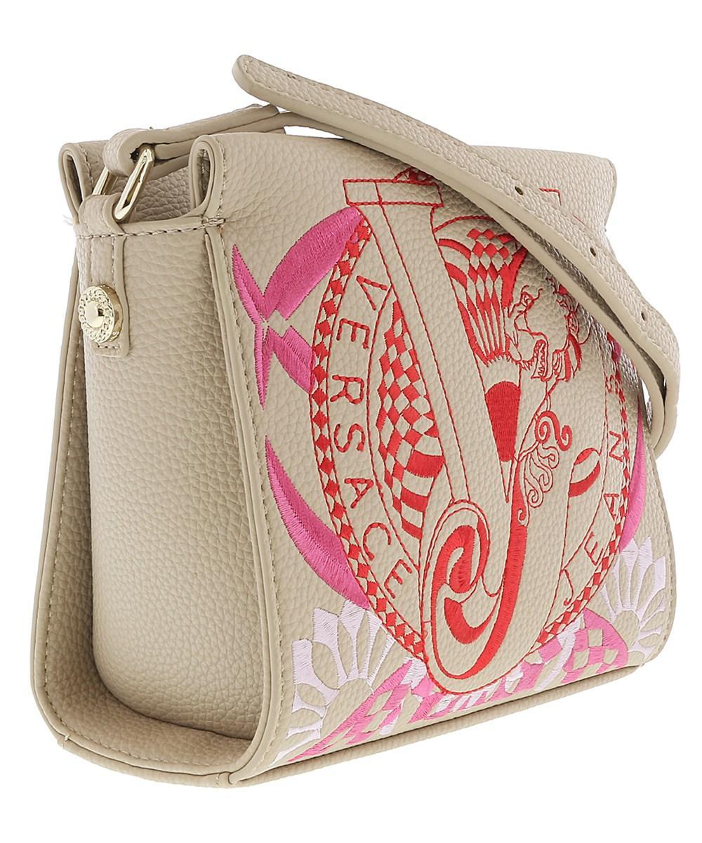 Versace Jeans. Women s Ee1vrbbr5 Light Brown Crossbody Bag With Silk Thread  Embroidery 872d81a6571b8