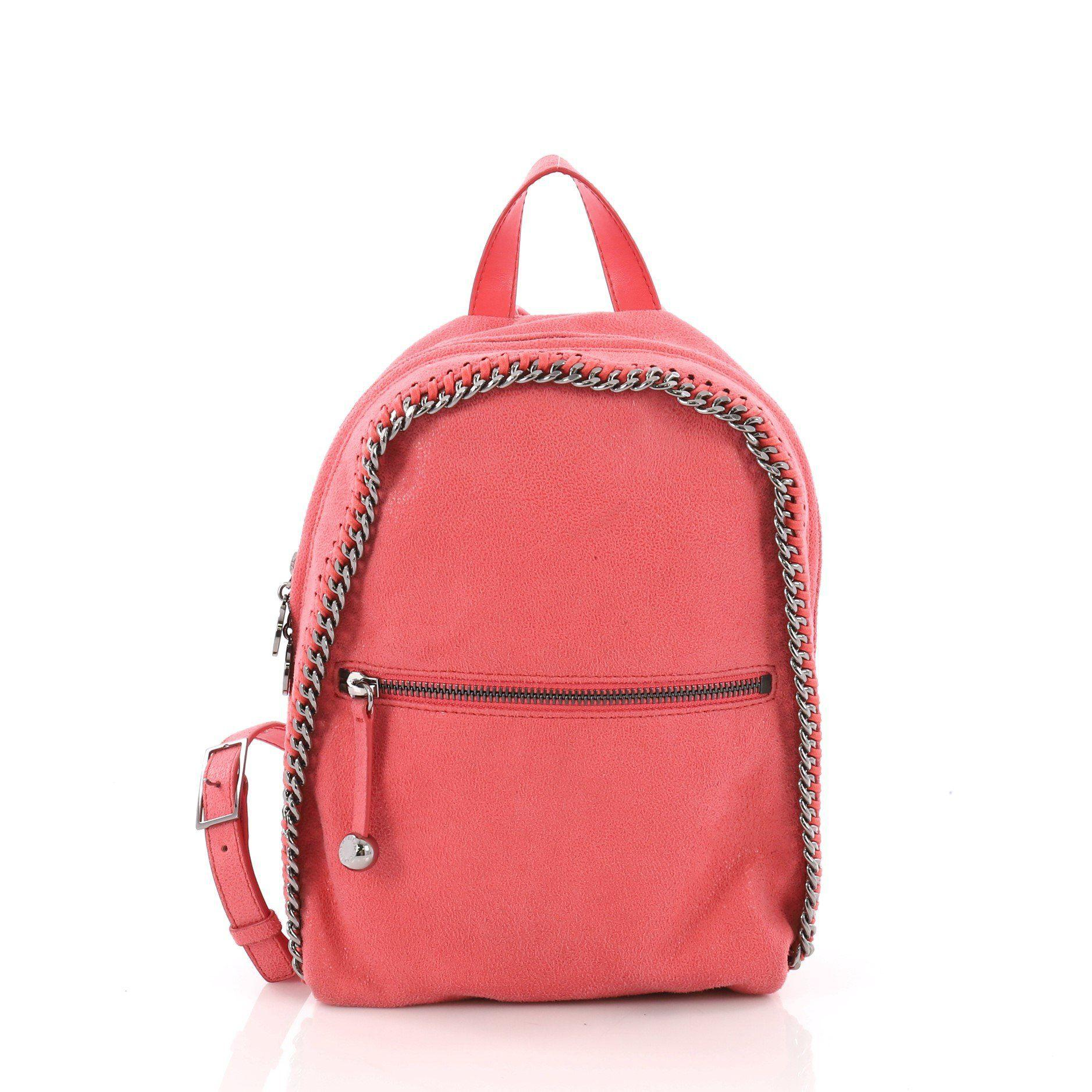 a03c1a8662d7 Stella McCartney. Women s Pink Pre Owned Falabella Front Zip Backpack  Shaggy Deer Mini