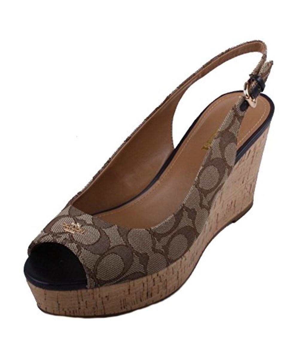 eaaa3fe47fa ... usa lyst coach ferry womens black smoke slingback wedge sandals in  brown 24095 b8d3c