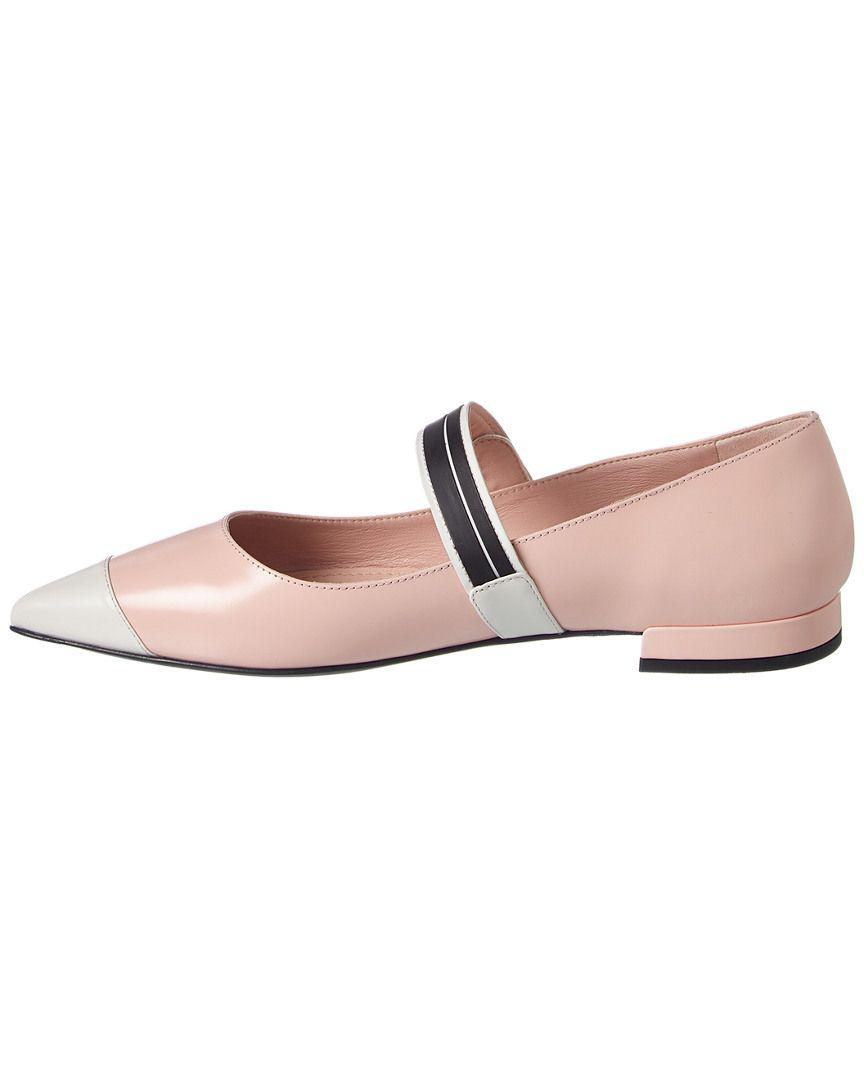 a5a561c2e327 Lyst - Prada Bicolor Brushed Ballerinas Calf Leather Orchidea talco in Pink  - Save 12.222222222222229%