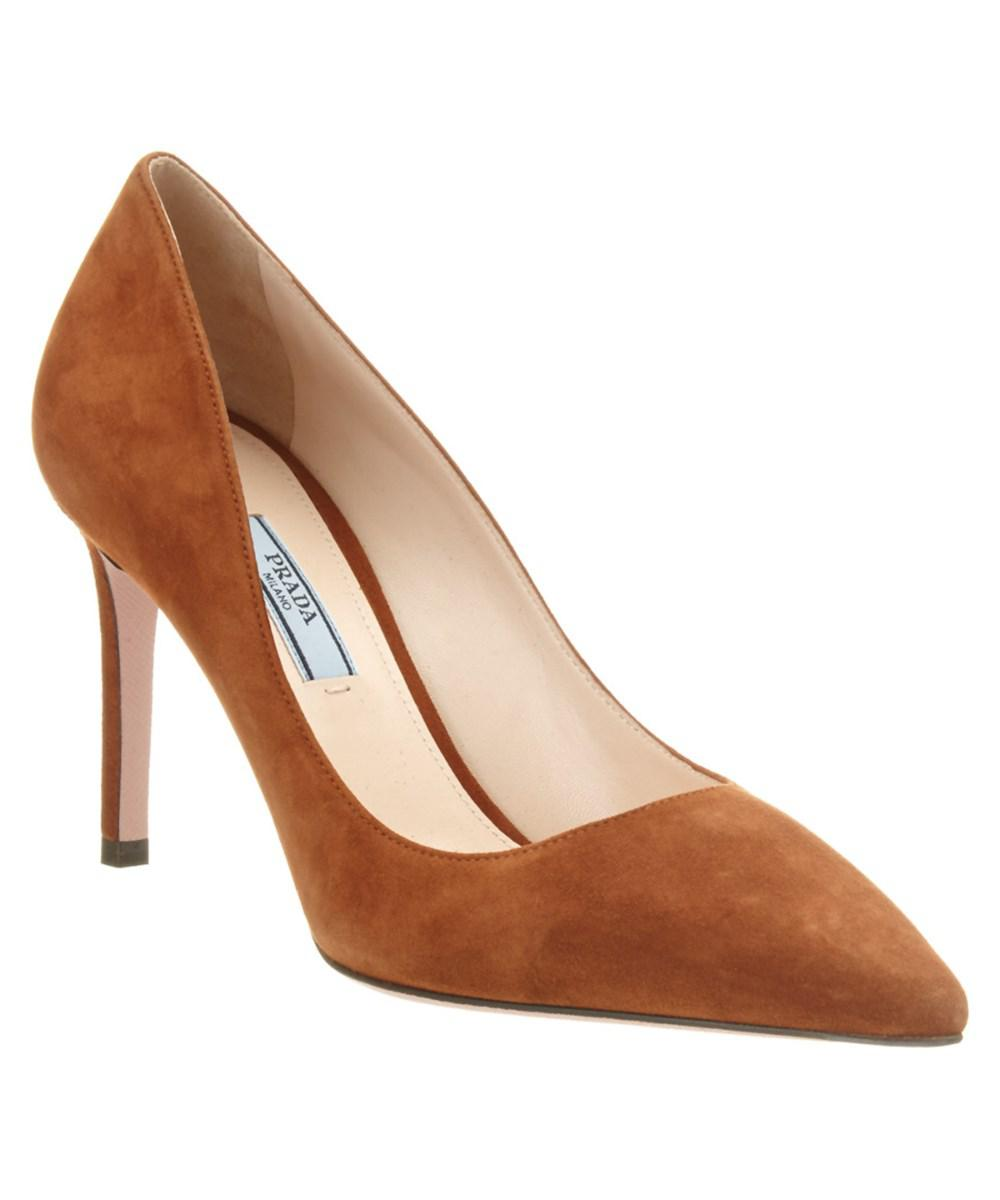 aad641230dc5 Prada - Brown 85 Suede Pointy-toe Pump - Lyst. View fullscreen