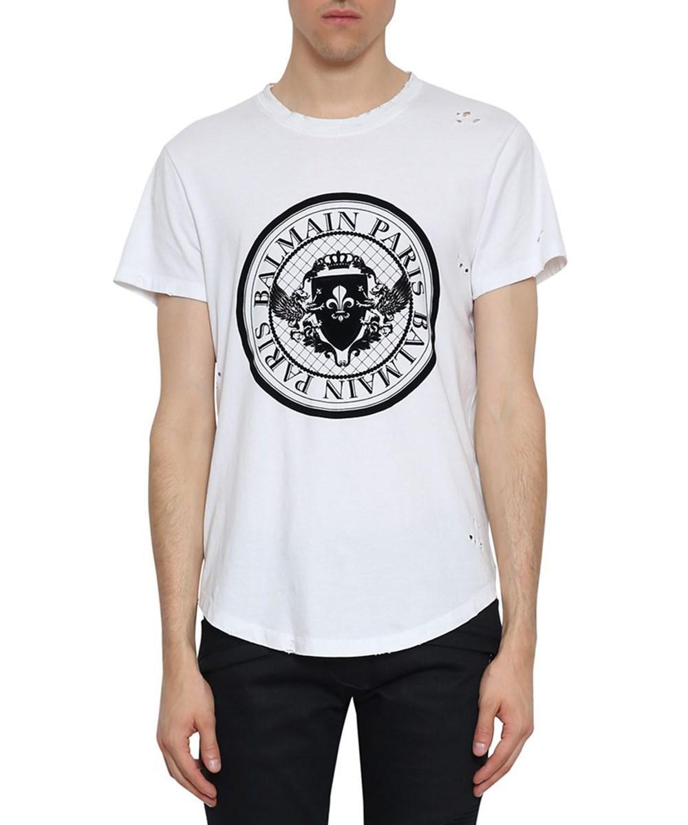 5debb0a7 Lyst - Balmain Men's White Cotton T-shirt in White for Men