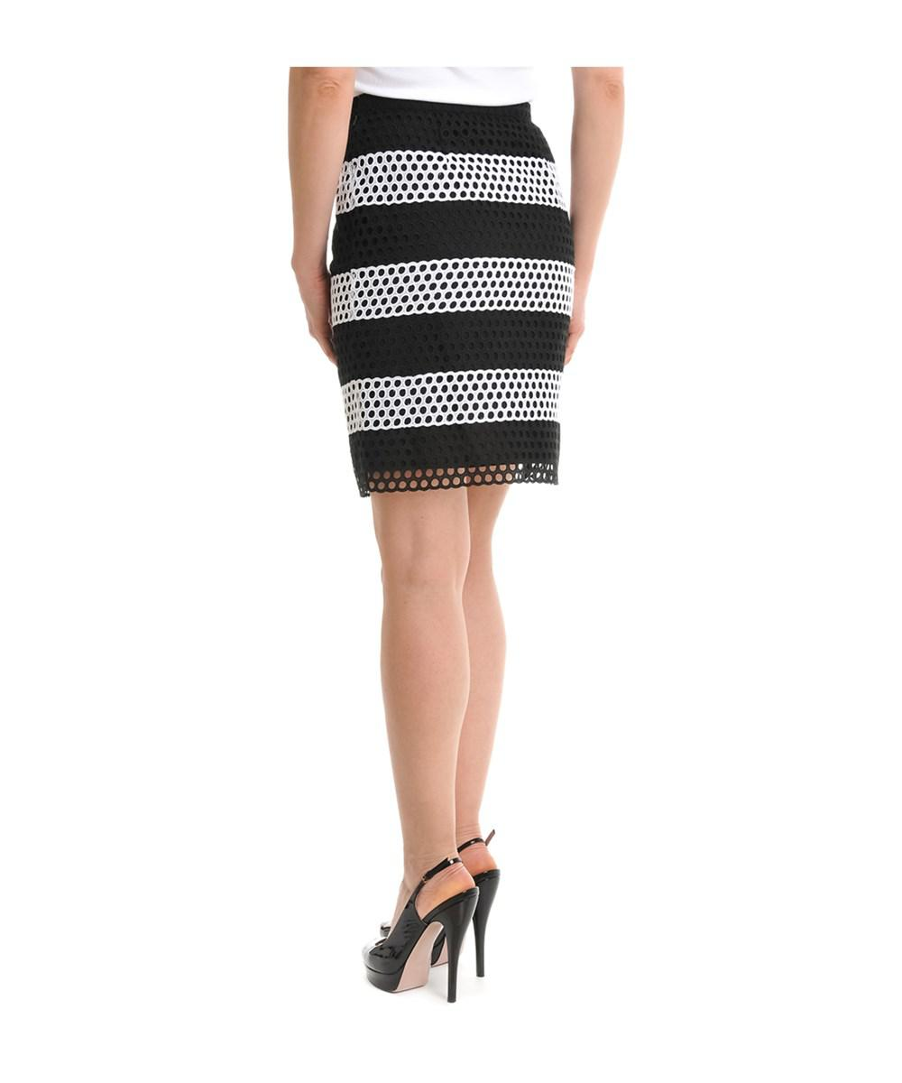 95b9c192c0 Lyst - Michael Kors Women's White/black Cotton Skirt in White