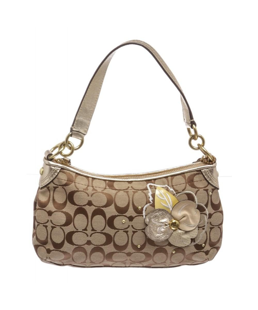 9a188f335997 Lyst - Coach Pre Owned- Brown Gold Monogram Canvas Shoulder Handbag ...