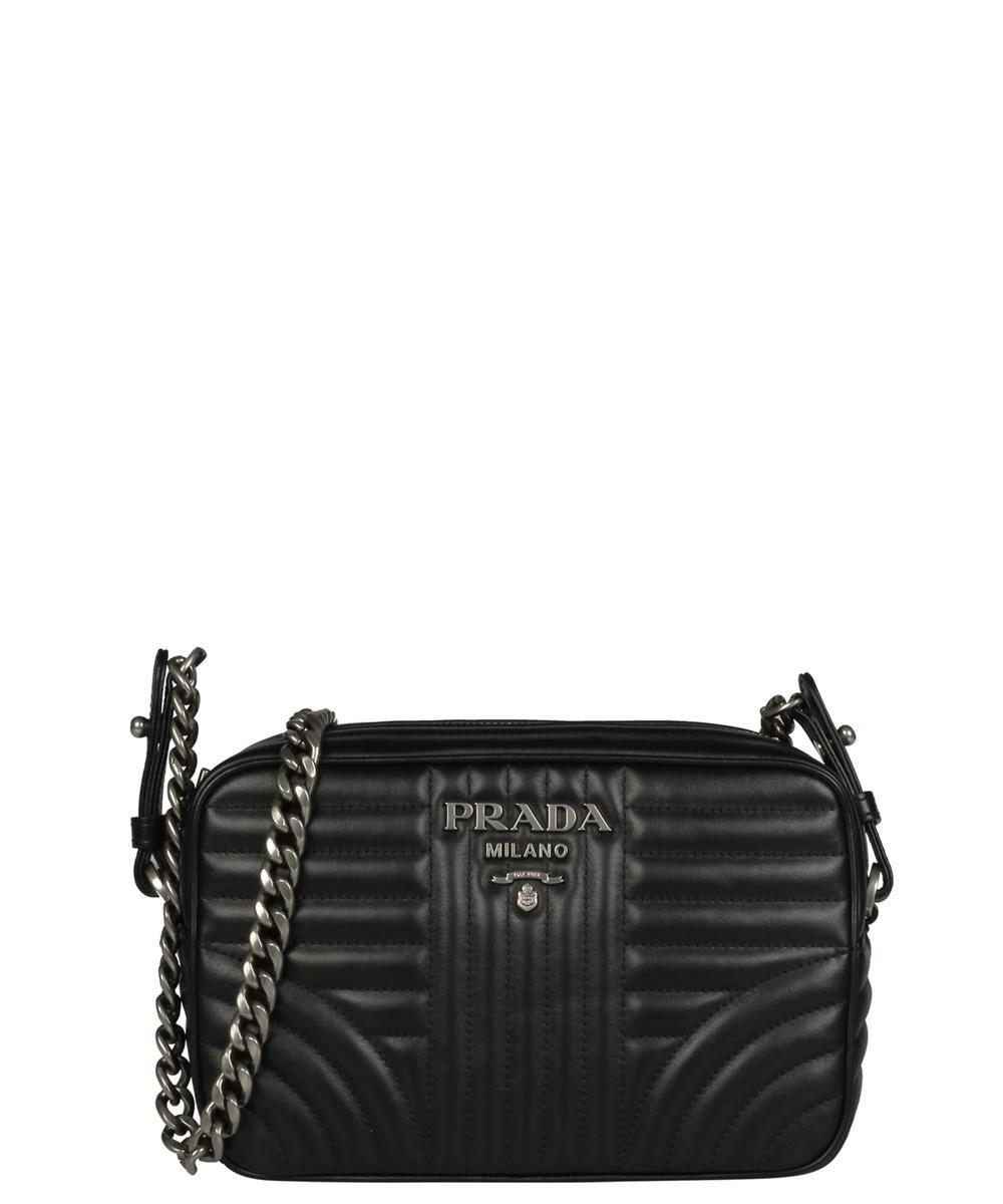 6af684c0b9 Prada - Women s 1bh0832d91f0633 Black Leather Shoulder Bag - Lyst. View  fullscreen