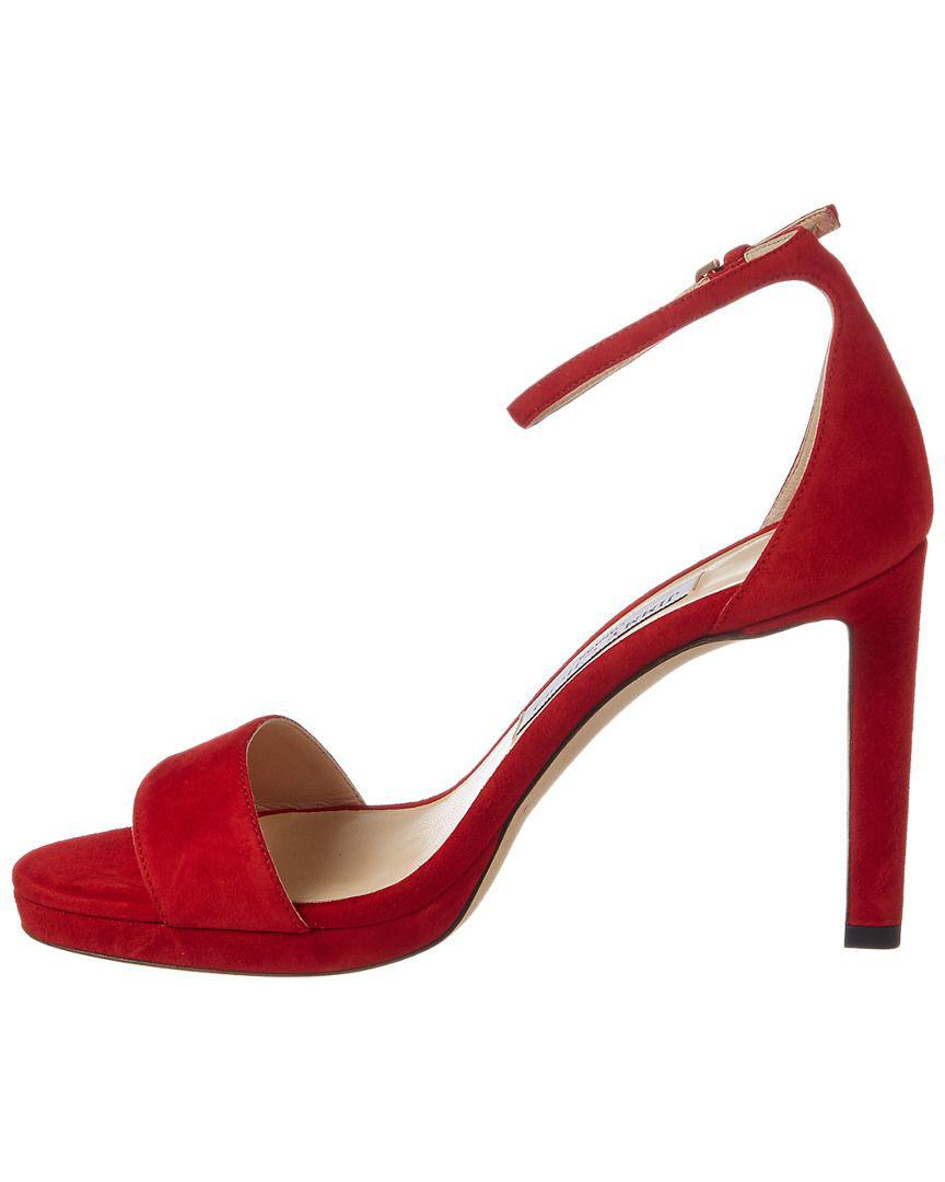 aab59bc5b151 Lyst - Jimmy Choo Misty 100 Suede Sandal in Red