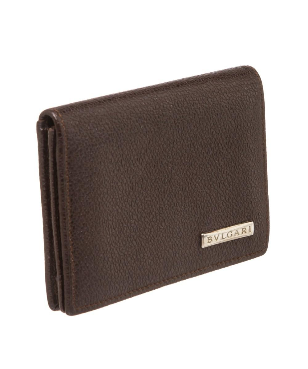 78e7c18605ad4 Lyst - Bvlgari Brown Leather Card Holder Small Wallet in Brown for Men