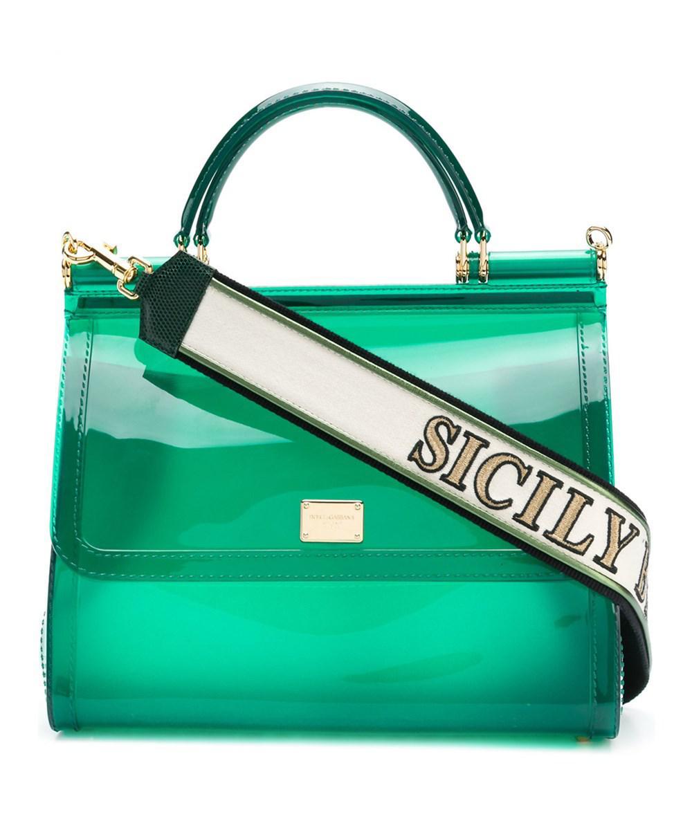 539d3b4fb3 Lyst - Dolce   Gabbana Dolce E Gabbana Women s Green Pvc Handbag in ...