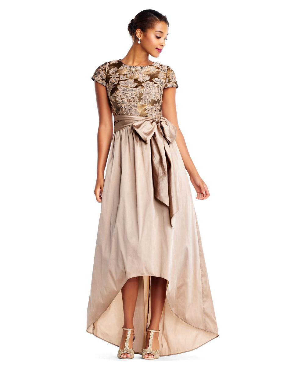 Lyst - Adrianna Papell High Low Ball Gown With Short Sleeve Floral ...