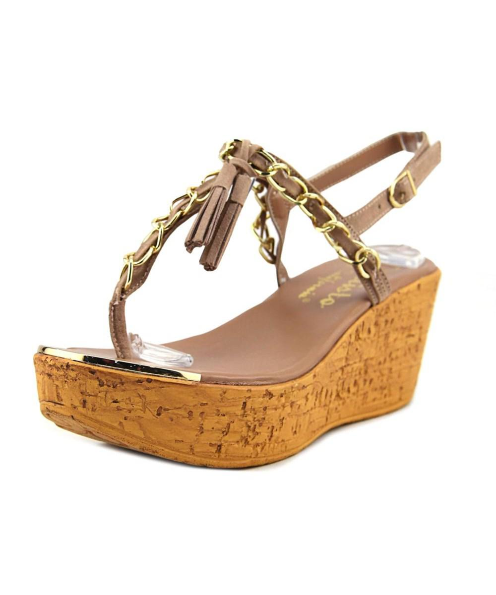 885fdd91c27b Lyst - Callisto Tella Open Toe Leather Wedge Sandal