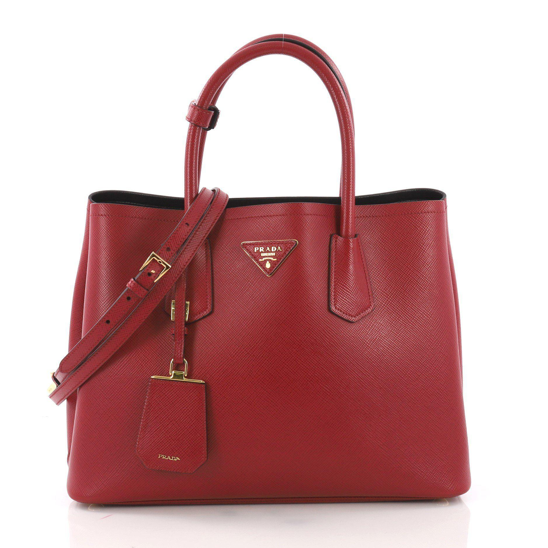 2956640b180 Prada - Red Pre Owned Cuir Double Tote Saffiano Leather Small - Lyst. View  fullscreen