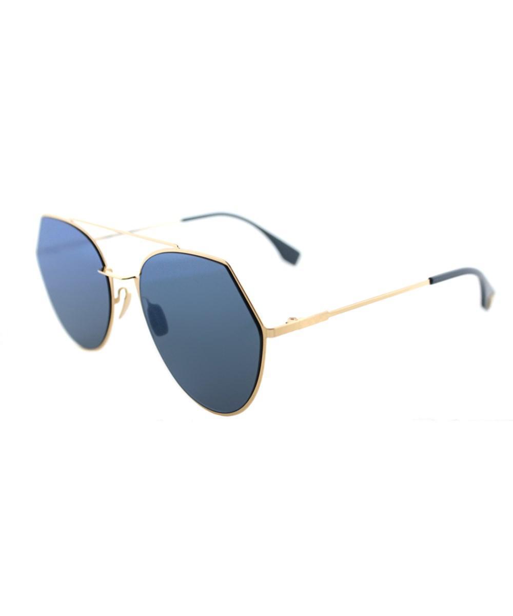 08ebcb13024 Lyst - Fendi Ff 0194 000 2a Rose Gold Eyeline Aviator Sunglasses in Pink