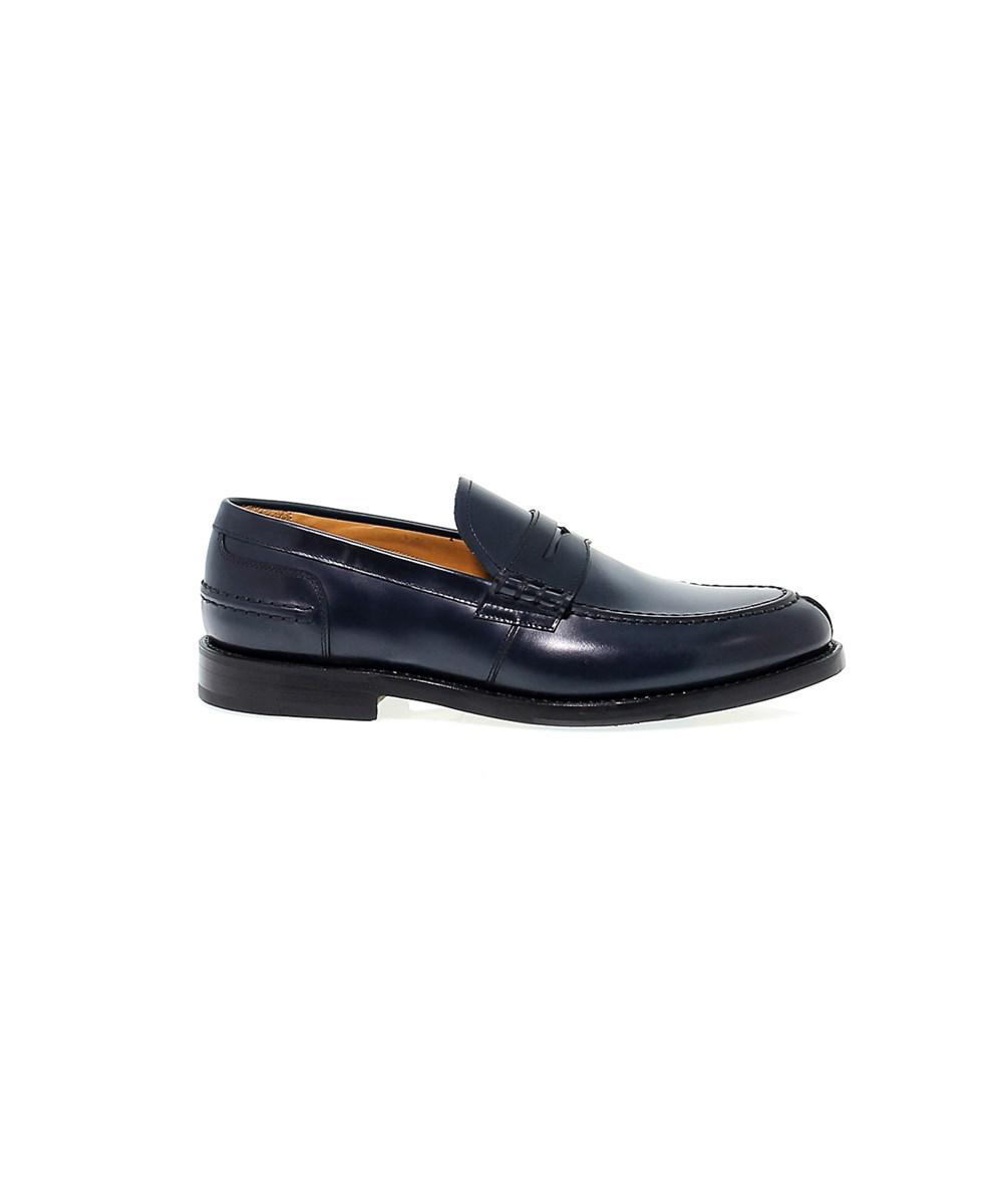 Men's FU7740BLU Blue Leather Loafers