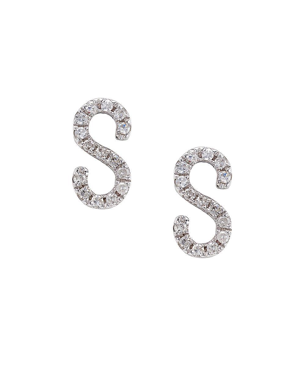 Cr By Casa Reale Women's 14 K Gold White Diamond S Initial Earrings