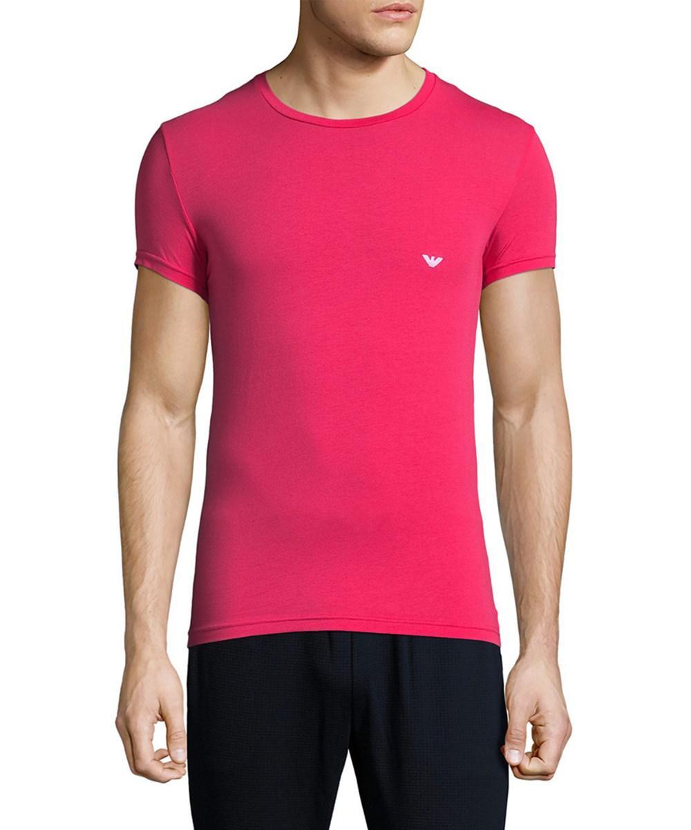 4278d1d92de1 Lyst - Emporio Armani Underwear Iconic Crewneck T-shirt in Pink for Men
