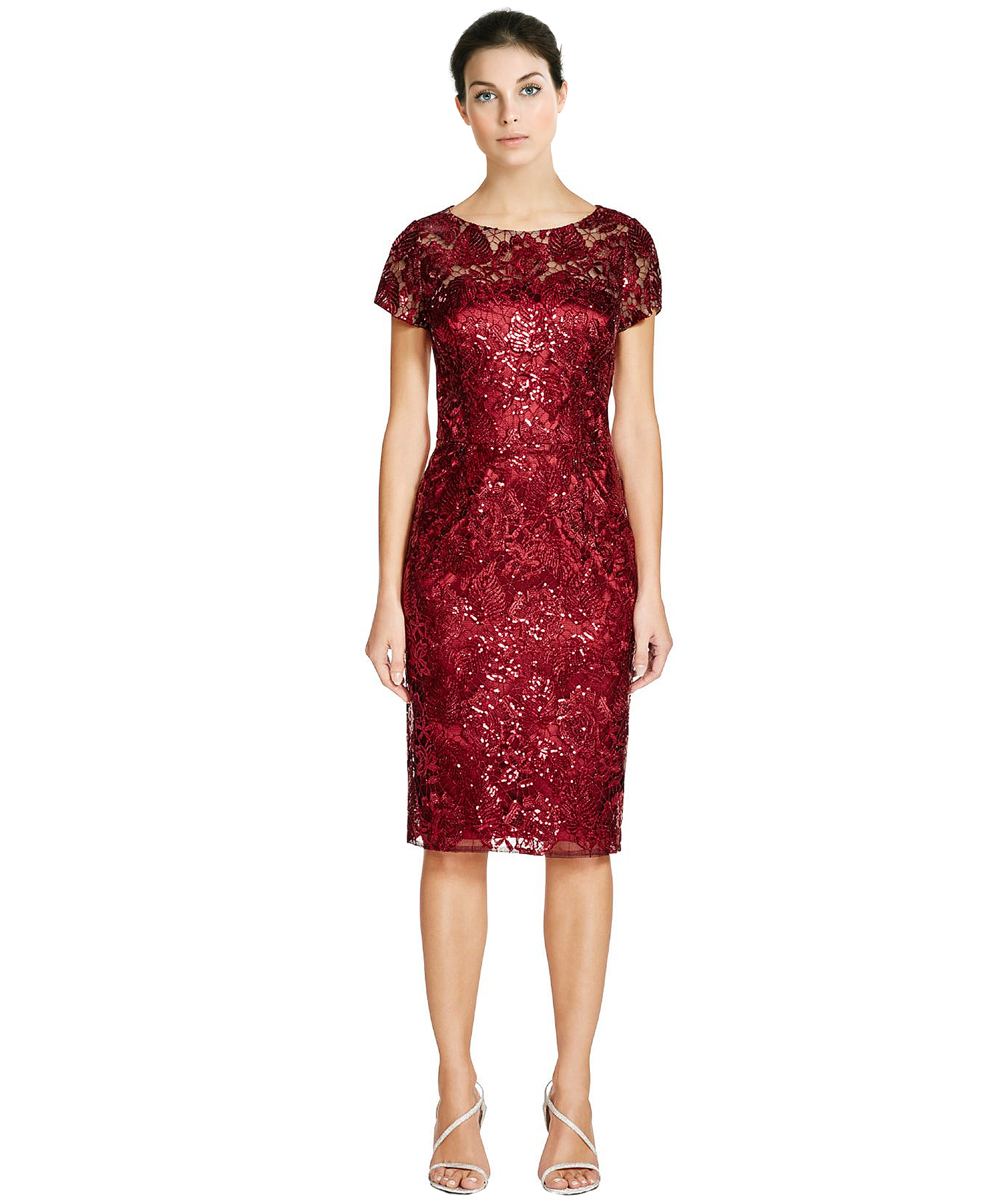 David meister Sequin Lace Short Sleeve Cocktail Dress in Red   Lyst