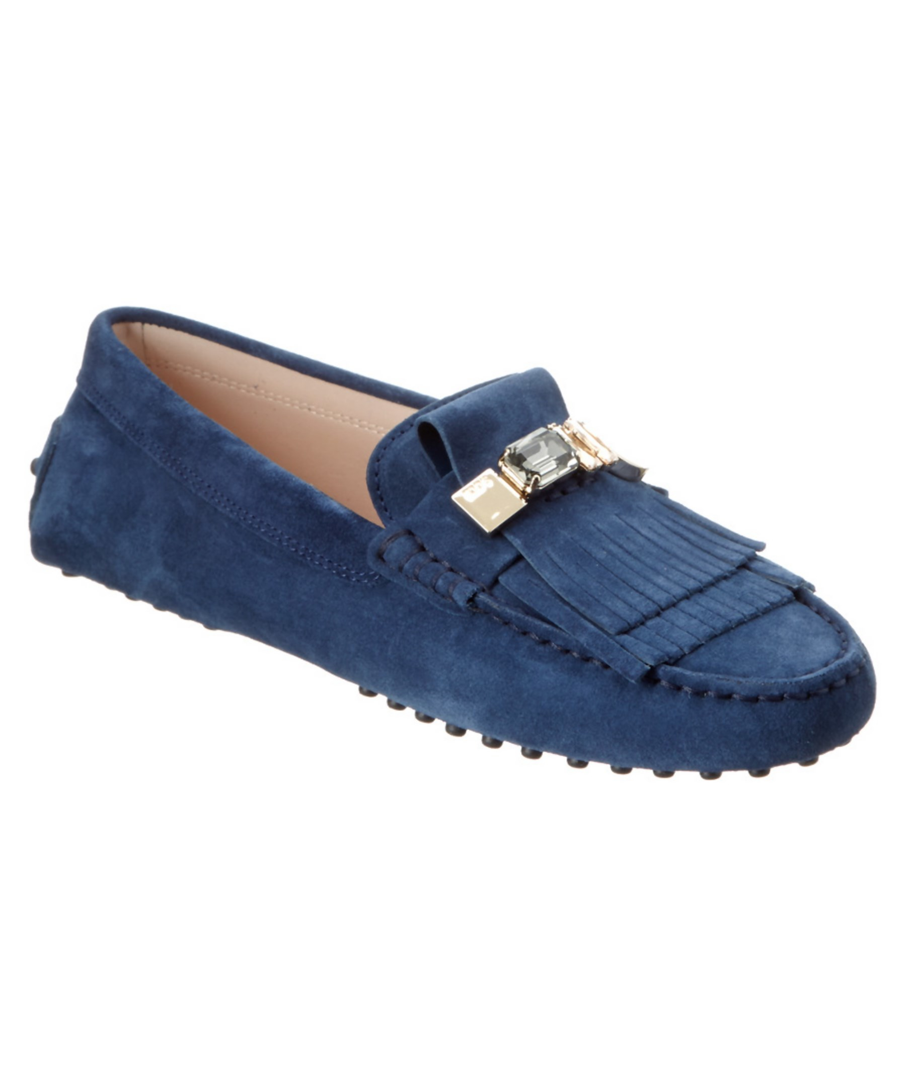 Tods Gommino Embellished Suede Driving Shoe In Blue navy