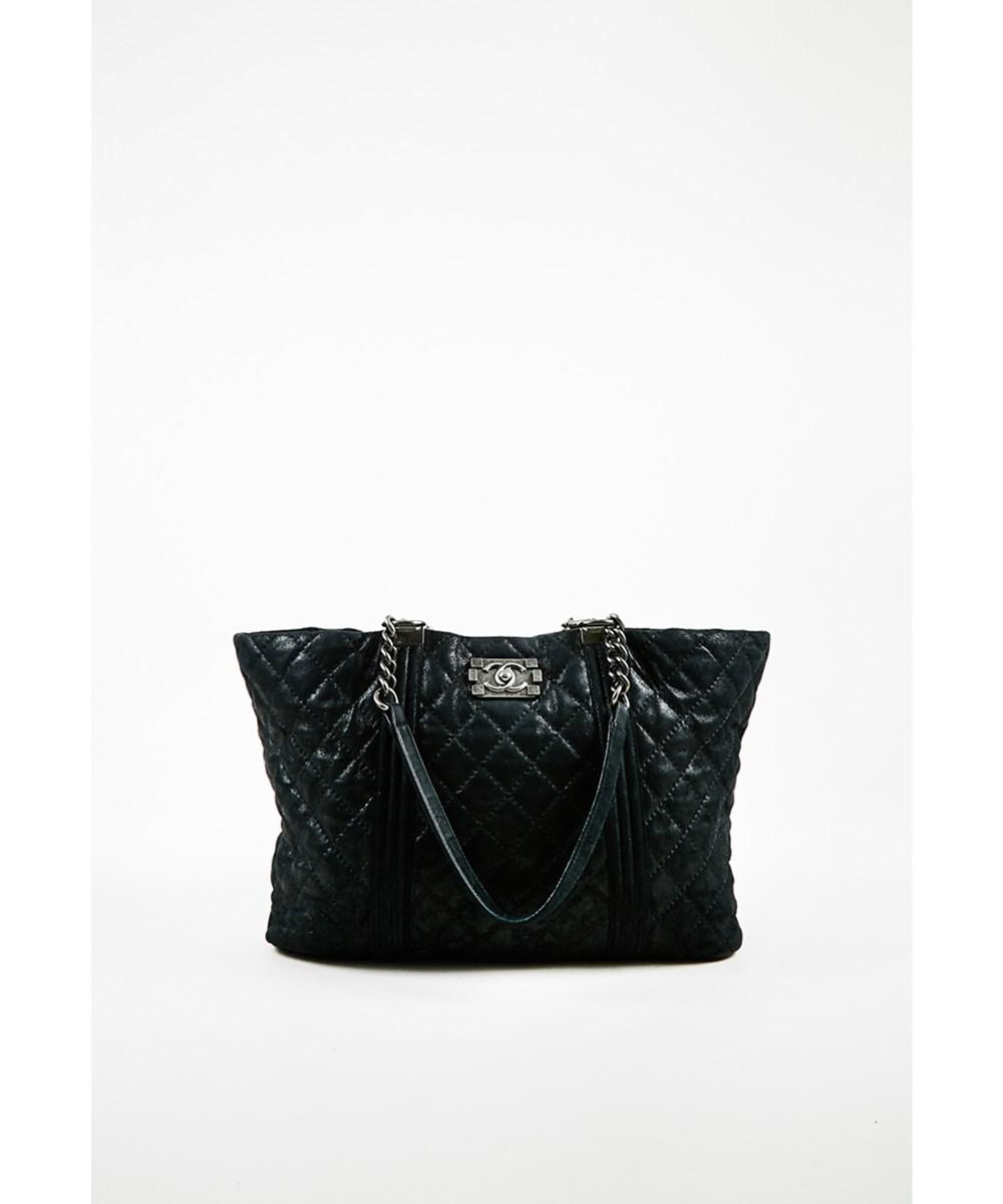 Chanel. Women s 1 Black Quilted Iridescent Goatskin Large Gentle Boy  Shopping Tote Bag f47d4d5374e12