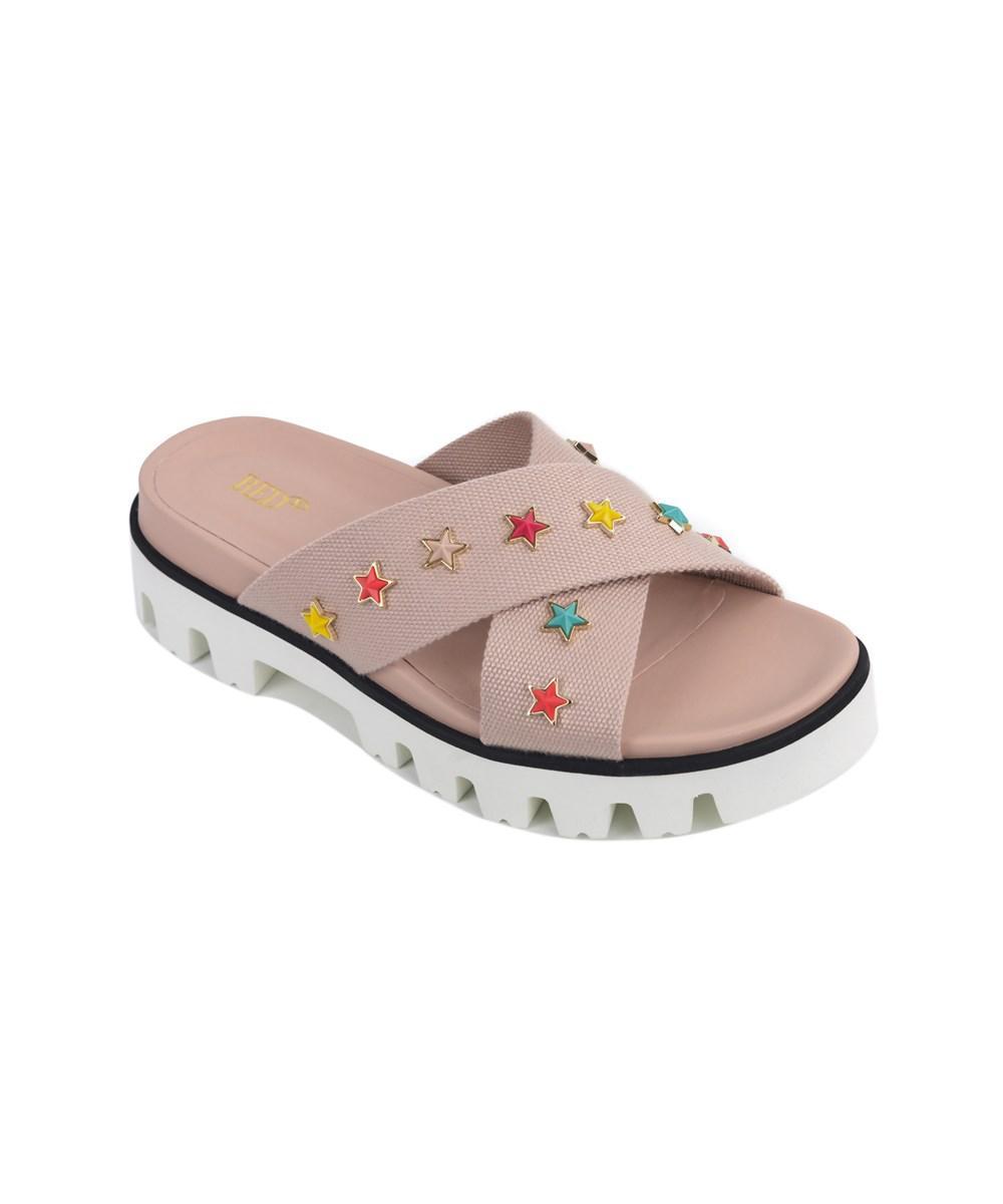 c66341736ec1 Lyst - Red Valentino Pale Pink Canvas Strap Star Charm Slide Sandals ...