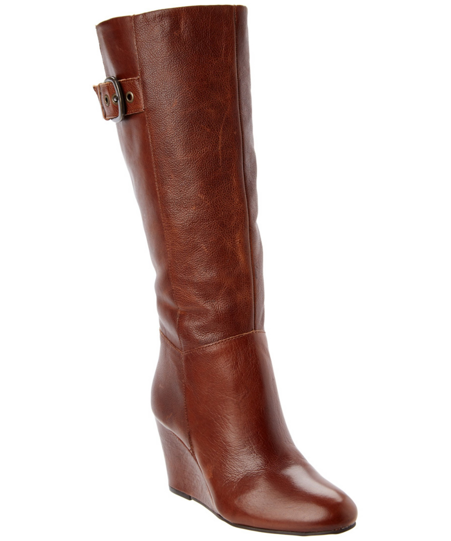 steven by steve madden matik leather wedge boot in brown