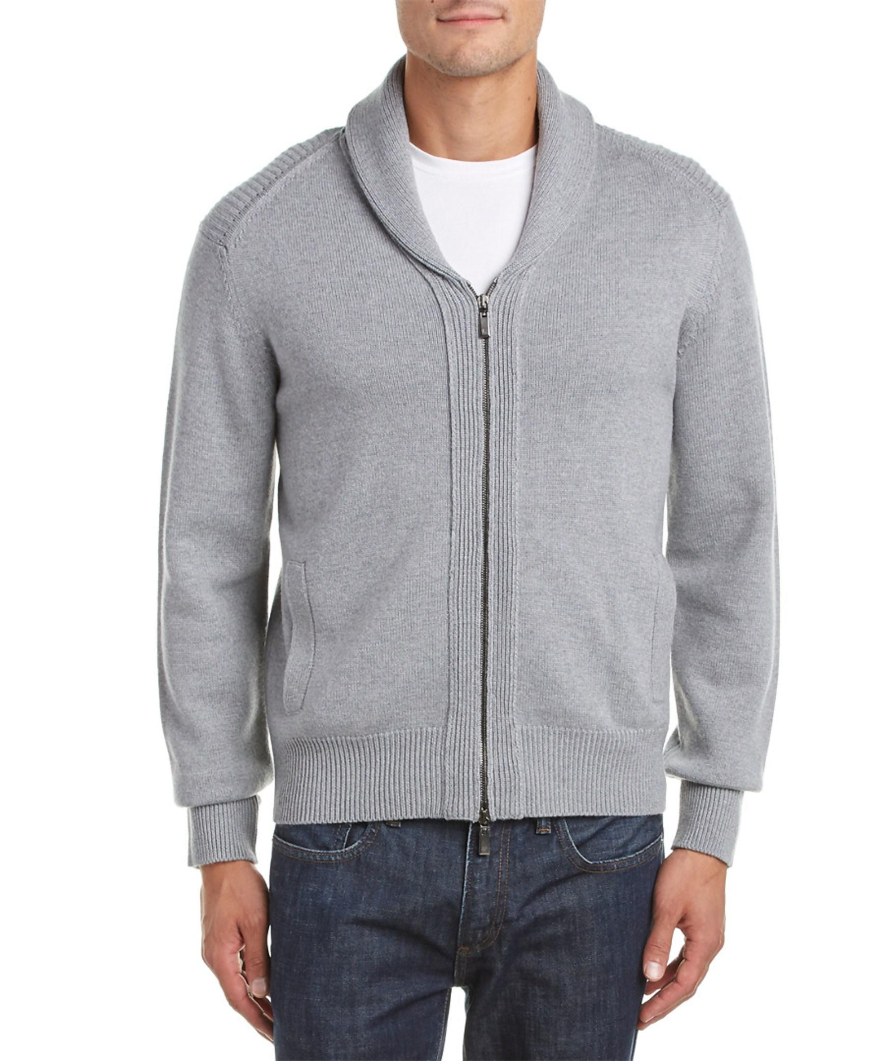 7597ed5f4 Lyst - Canali Wool Zip Sweater in Gray for Men