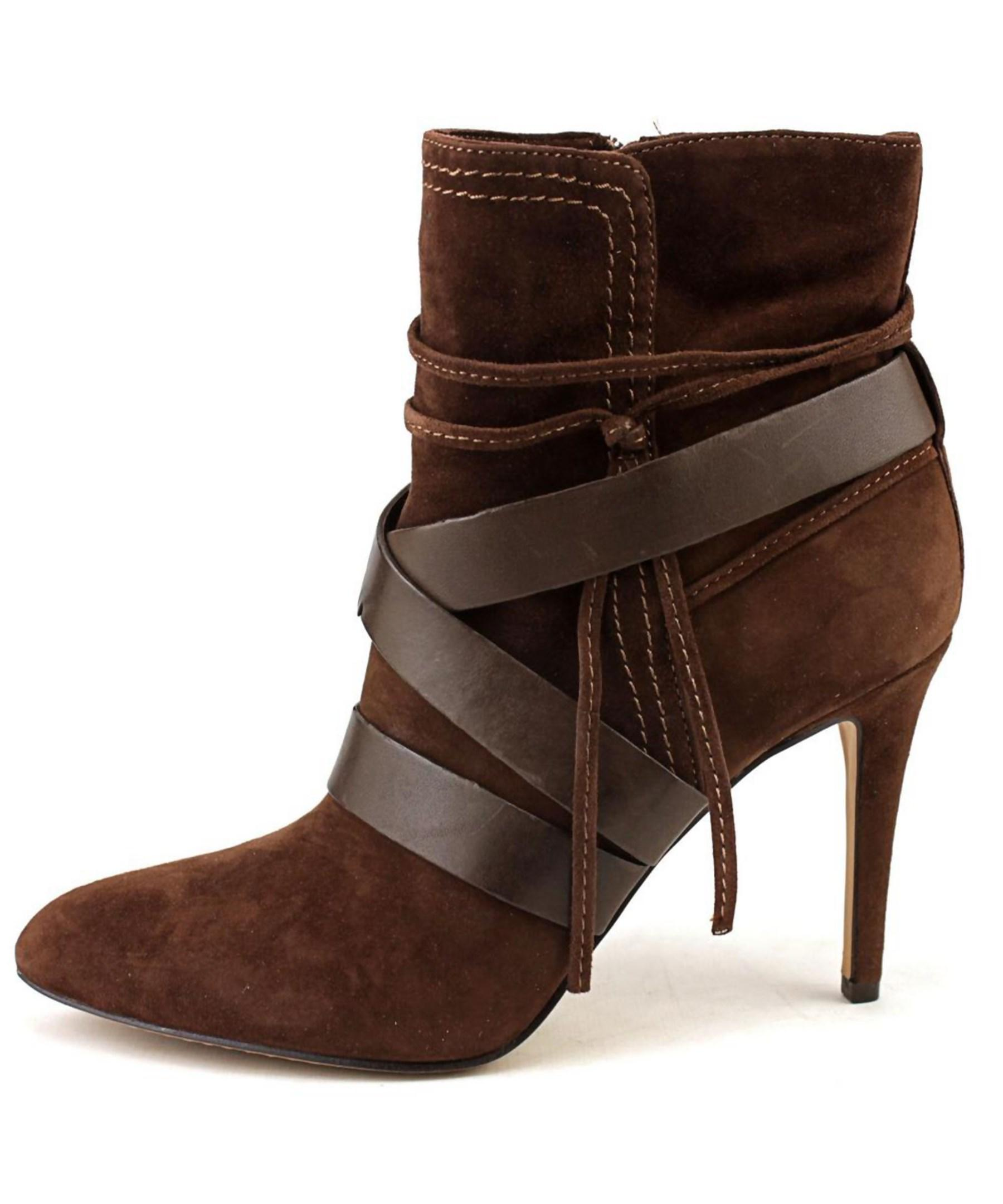vince camuto solter pointed toe suede brown ankle