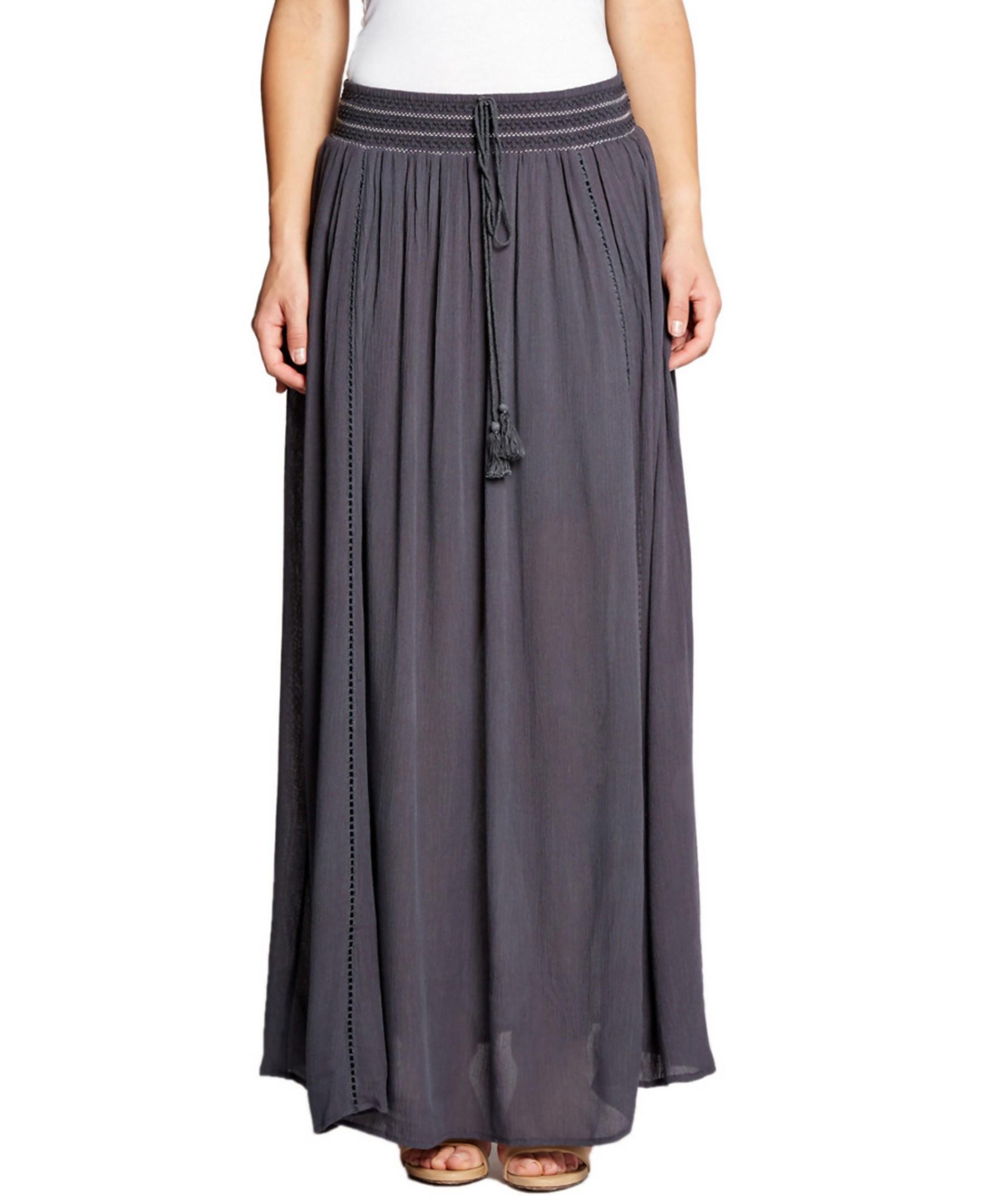 bobeau shea maxi skirt in gray lyst