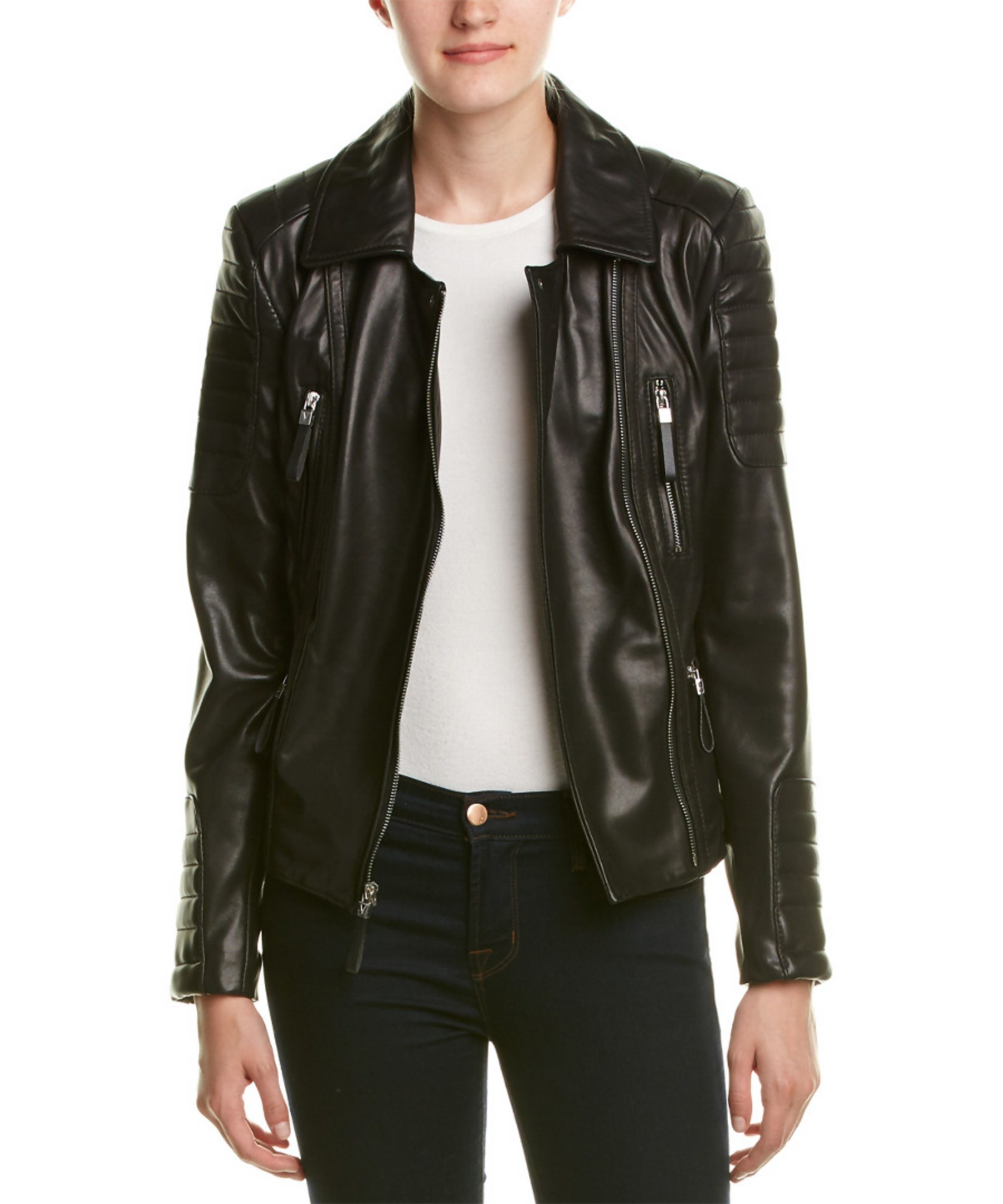 Vince Camuto Leather Moto Jacket In Black Lyst