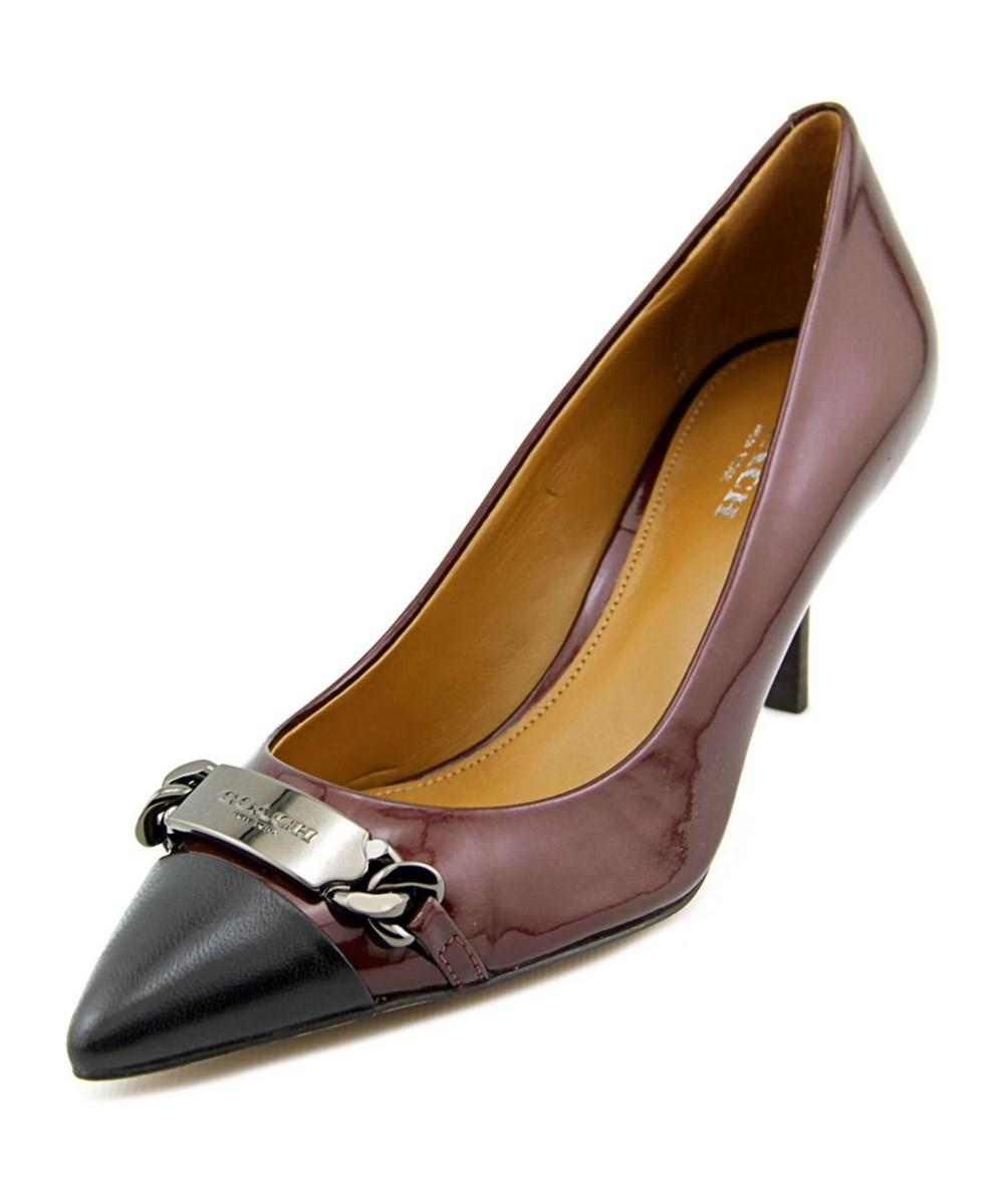 bb13a1865b7 Lyst - Coach Bowery Women Pointed Toe Patent Leather Burgundy Heels ...