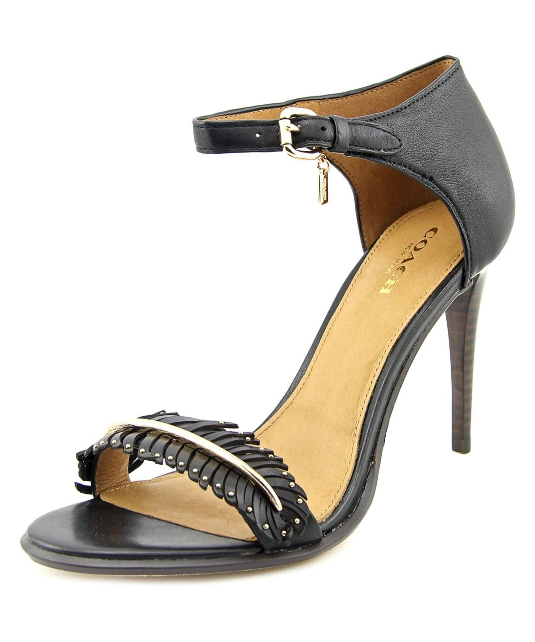 Coach Isabella Open-toe Leather Heels in Black | Lyst