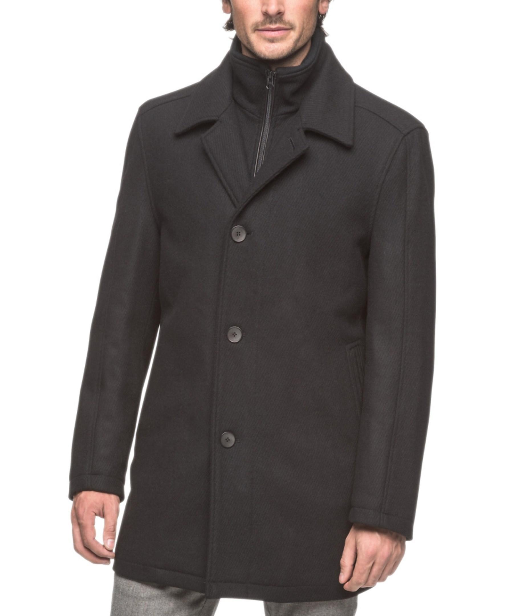 Andrew Marc Warren Wool Car Coat In Black For Men