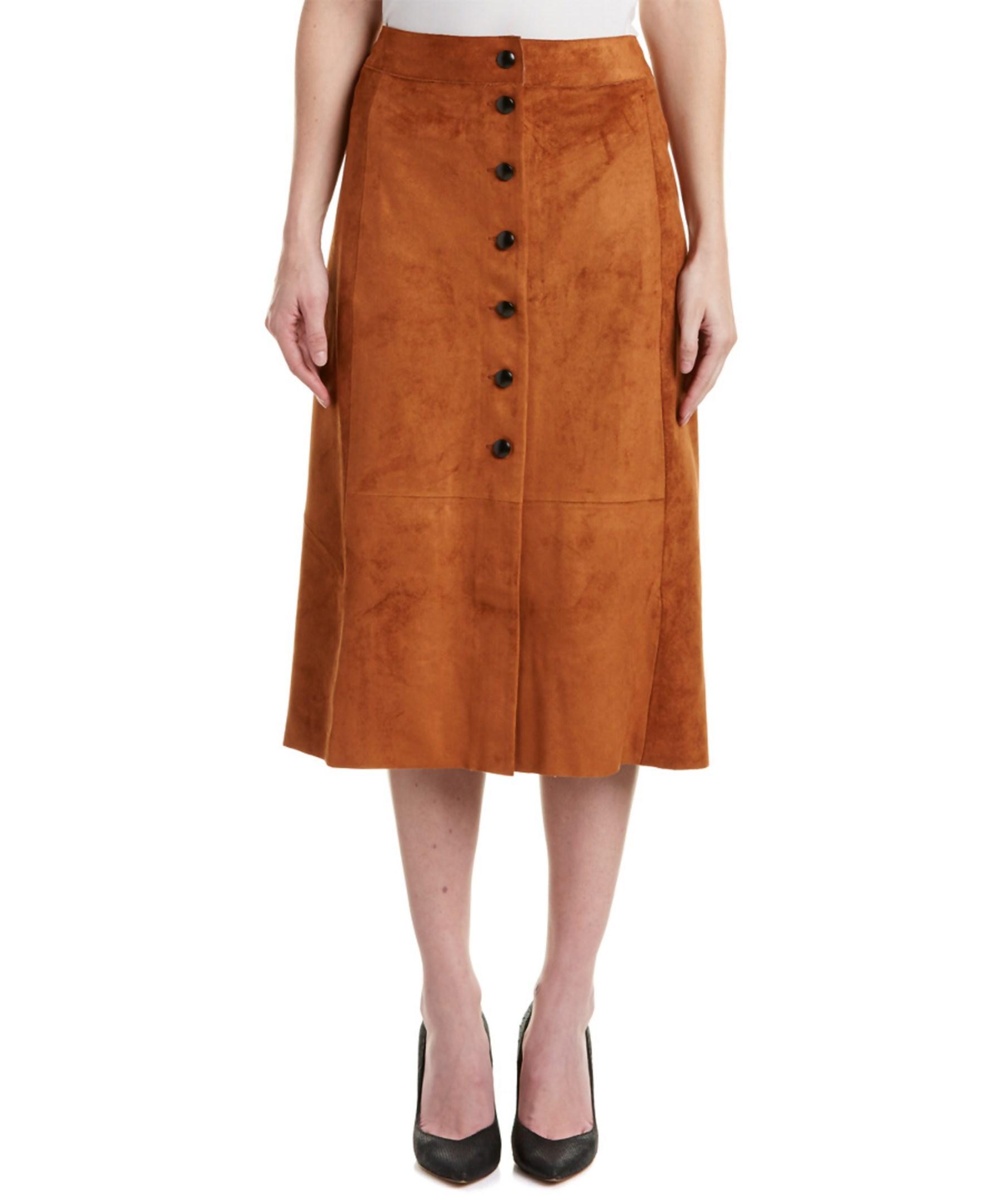 catherine malandrino midi skirt in brown lyst