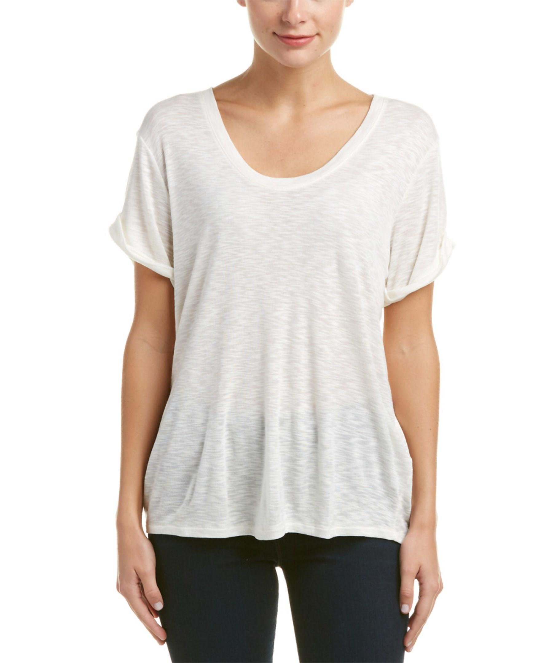 Three Dots Rolled Cuff Wool Blend T Shirt In White Lyst