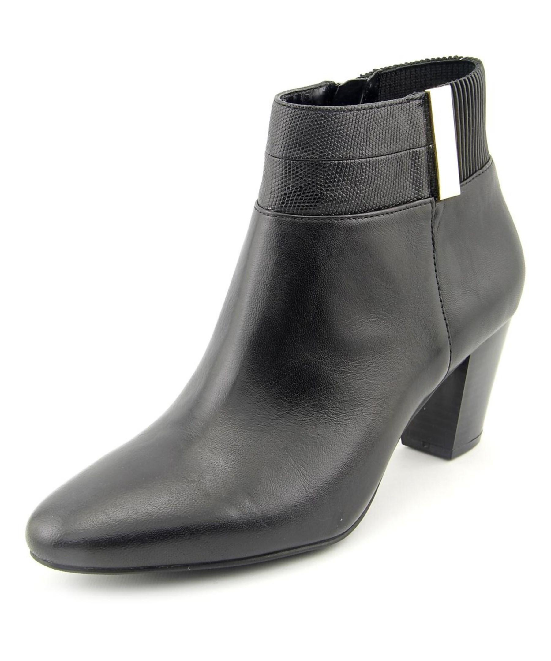 alfani palessa toe leather ankle boot in black