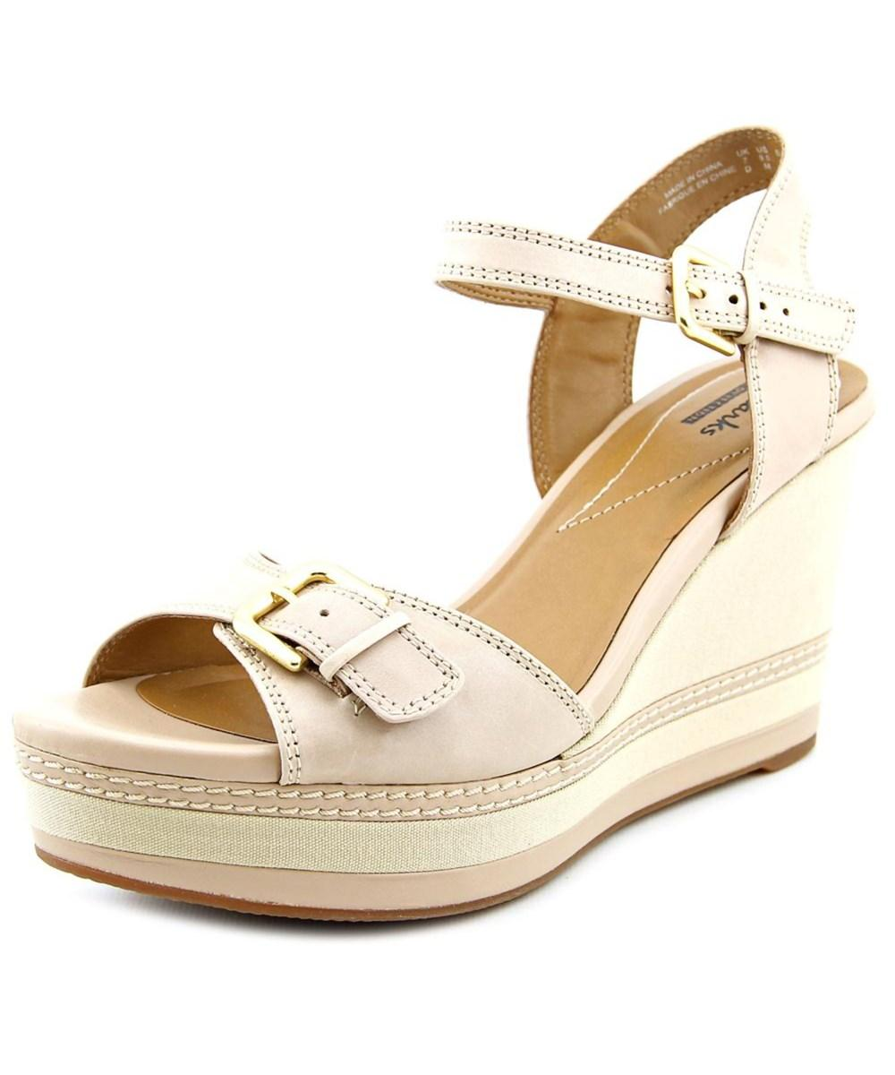 218d98dd6a0 Lyst - Clarks Zia Castle Open Toe Leather Wedge Sandal in Natural