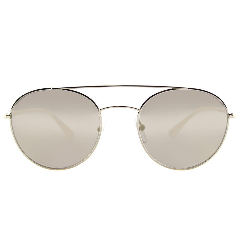 16ca59728df Prada - Metallic Ps 51ss Zvn1c0 Pale Gold Round Sunglasses - Lyst. View  fullscreen