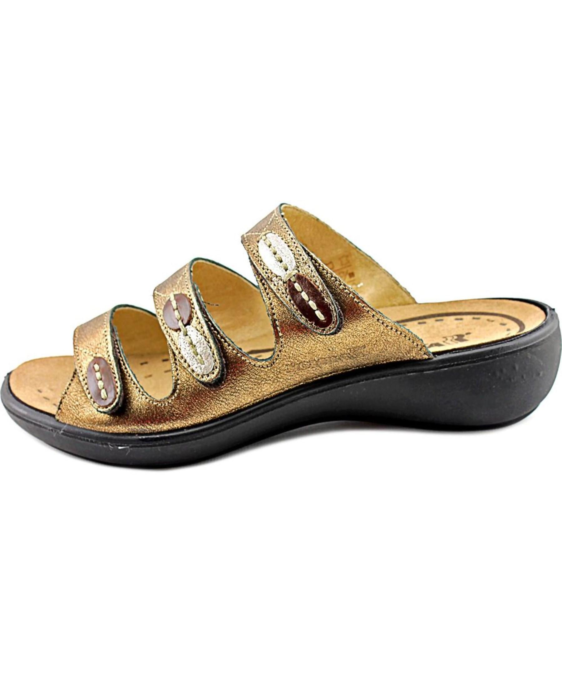 Romika Ibiza 20 Open Toe Leather Slides Sandal In Metallic