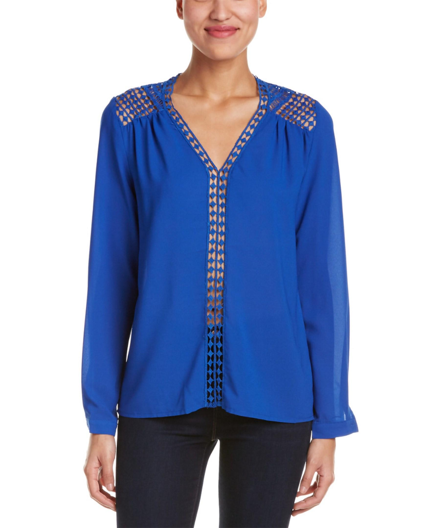Esley Collection Lace Yoke Blouse in Blue