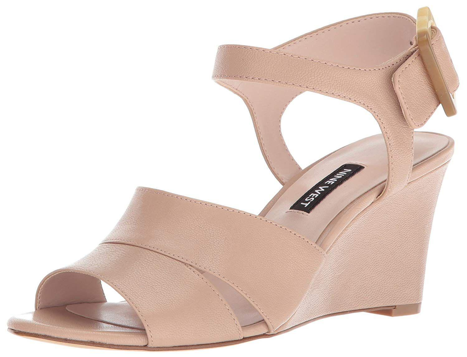76f12a262e4 Lyst - Nine West Women s Vahan Leather Wedge Sandal in Brown