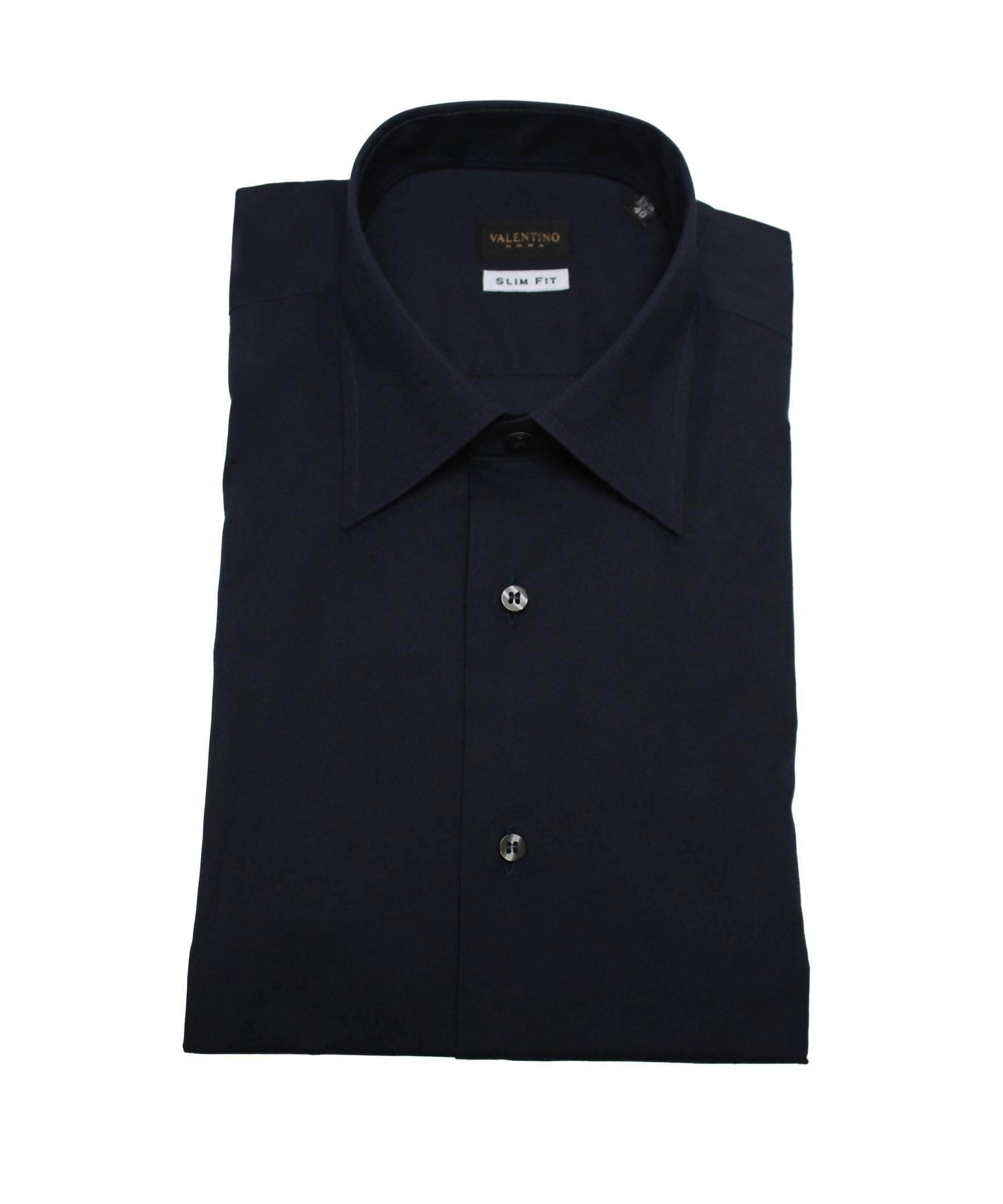 Valentino men slim fit cotton dress shirt black in black for Boys slim fit dress shirt