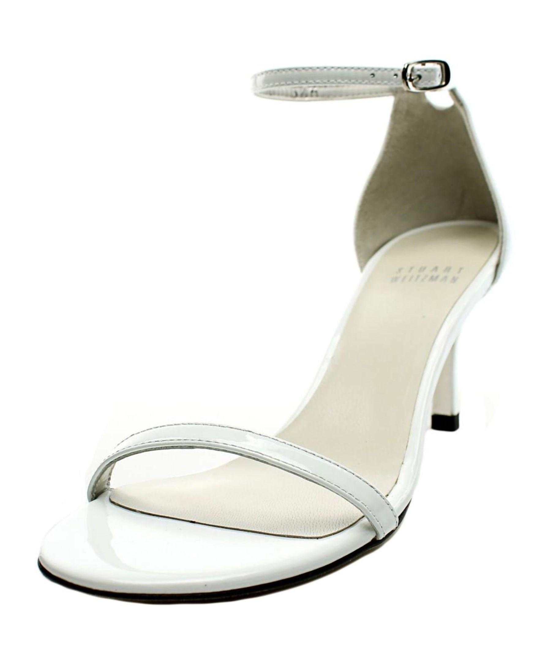 stuart weitzman open toe patent leather sandals in
