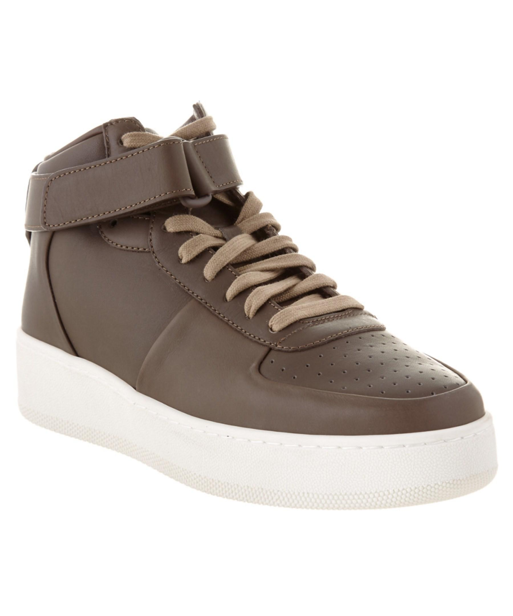 c 233 line leather high top sneaker in brown for lyst
