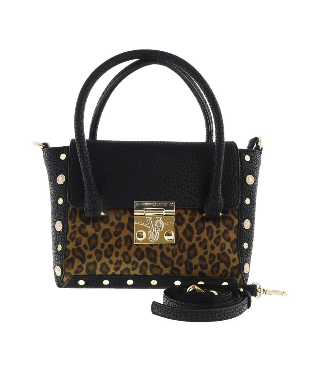 35f81fd97b48 Versace Ee1vqbbm4 Emhx Square Top Handle Shoulder Bag Black leopard ...